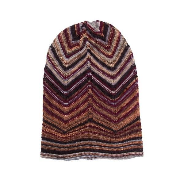 Missoni Ladies Zig-zag Knit Beanie Hat Brown - Linea Fashion 337d8382dbed
