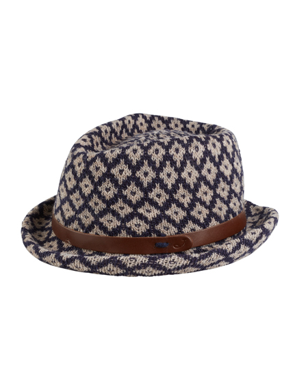 Knitting Pattern Trilby Hat : Jacob Coh?n Ladies Pattern Knit Wool Trilby Navy - Linea Fashion