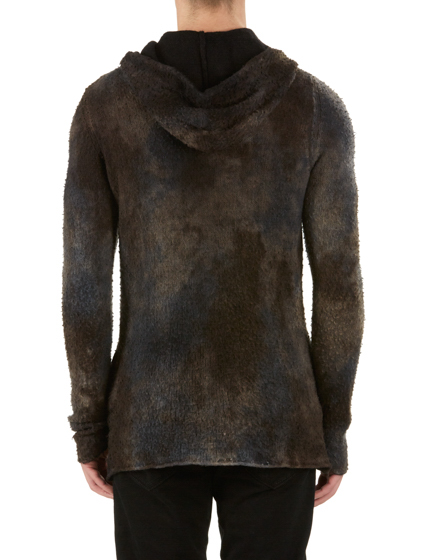 AVANT TOI MEN'S CAMOUFLAGE KNITTED HOODIE BROWN