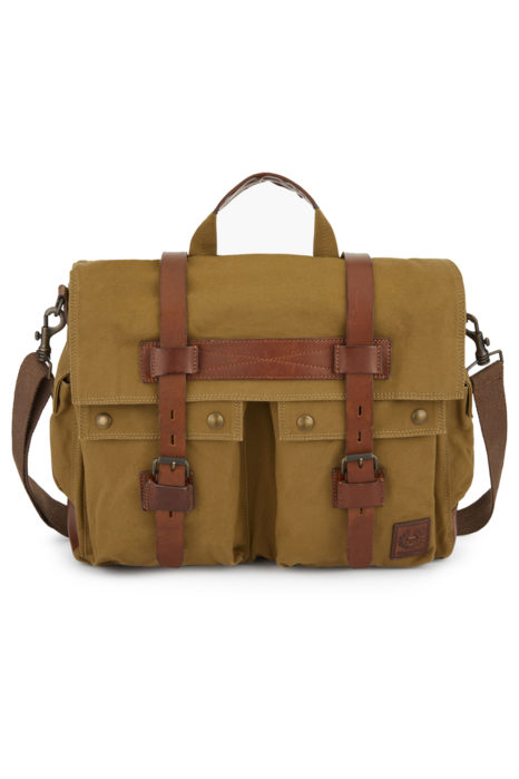 Belstaff Colonial Messenger Men's Canvas Shoulder Bag Khaki FRONT