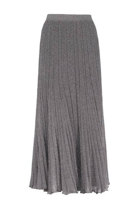 Missoni Women's Long Pleated Stretch Lurex-Knit Skirt Silver FRONT
