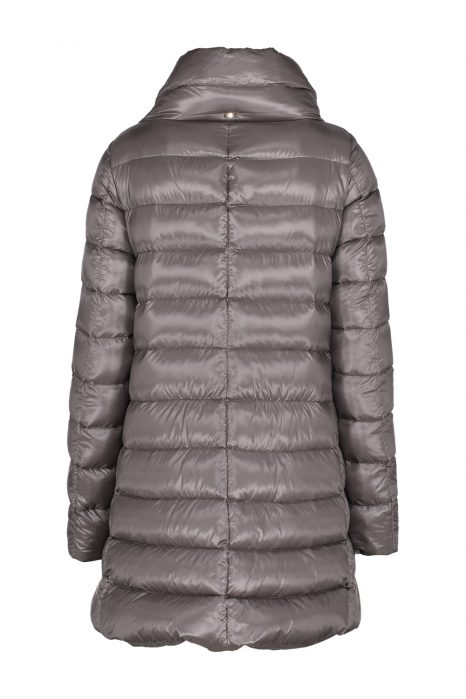 Herno Ladies Satin Nylon Ultralight Quilted Down Coat Grey BACK