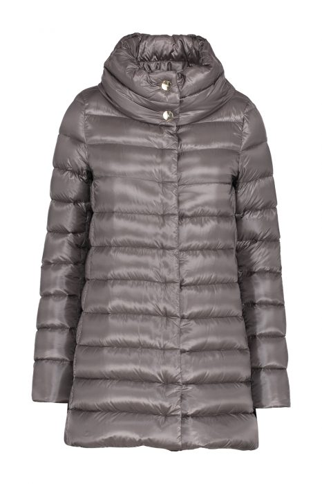 Herno Ladies Satin Nylon Ultralight Quilted Down Coat Grey FRONT