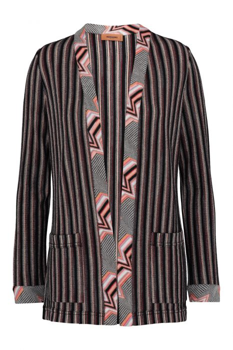 Missoni Women's Striped Crochet-Knit Cardigan Pink FRONT