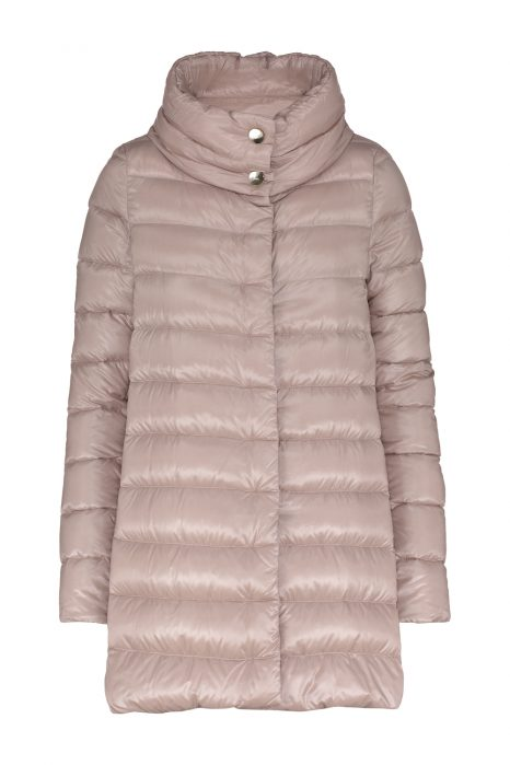 Herno Ladies Satin Nylon Ultralight Quilted Down Coat Pink FRONT