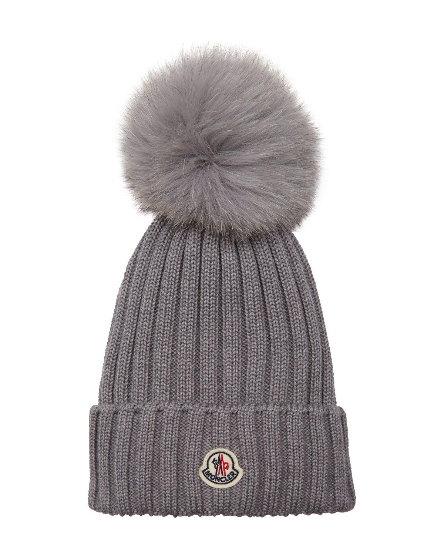 Moncler Women's Fur Pom Pom Wool Beanie Hat Grey