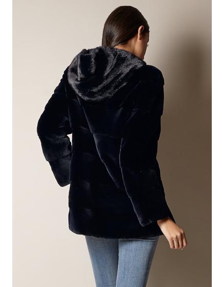 Mila Furs Ladies Sophie Hooded Mink Fur Coat Navy Linea