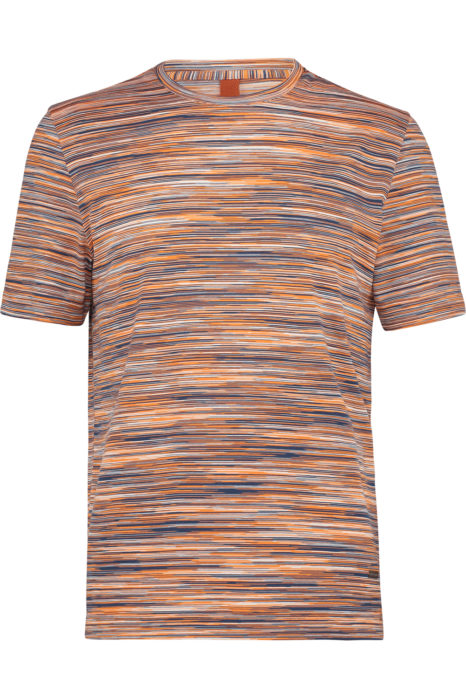 Missoni Men's Cotton Printed Pattern T-shirt Orange FRONT
