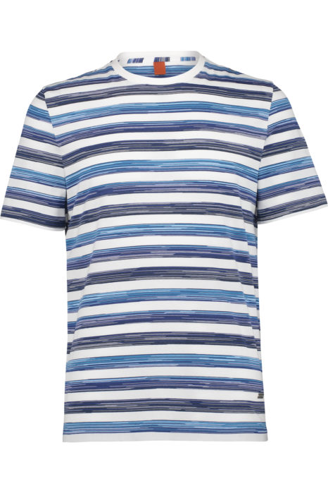Missoni Men's Cotton Printed Horizontal Stripe T-shirt Blue FRONT