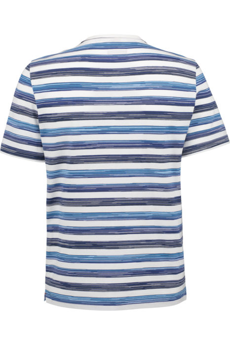 Missoni Men's Cotton Printed Horizontal Stripe T-shirt Blue BACK