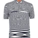Missoni Men's Cotton Space-Dye Knitted Polo Shirt Navy FRONT