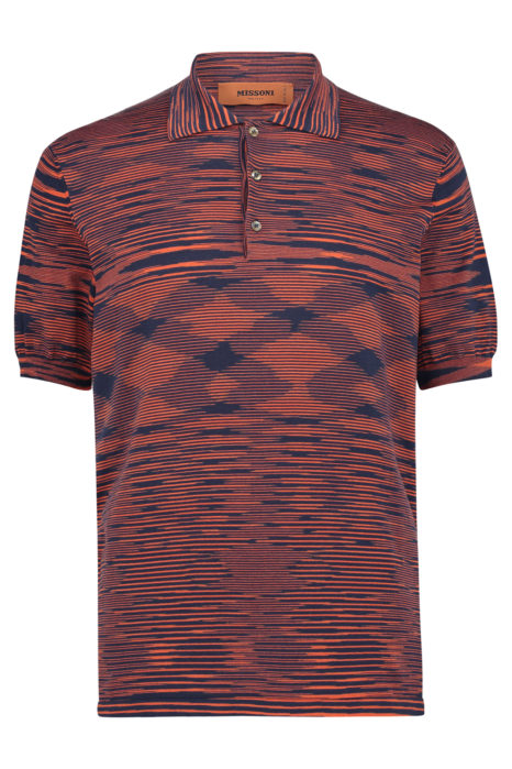 Missoni Men's Cotton Space-Dye Knitted Polo Shirt Red FRONT