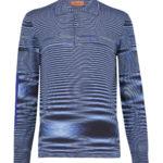 Missoni Men's Cotton Moiré Knitted Polo Shirt Blue FRONT
