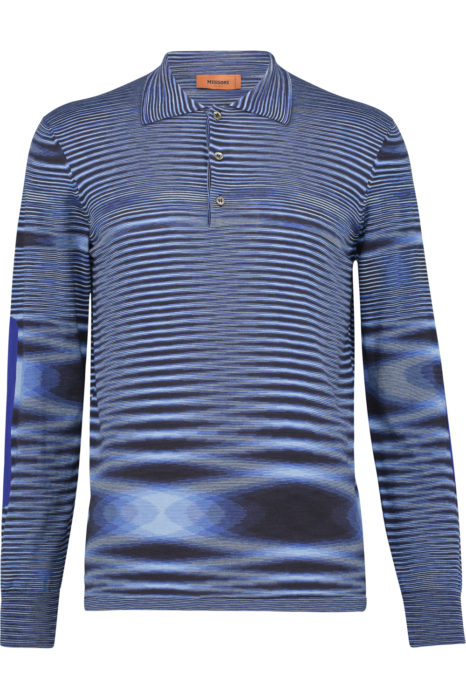 Missoni Men's Cotton Moiré Knitted Polo Shirt Blue FRONT