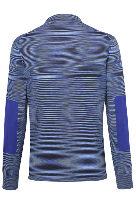 Missoni Men's Cotton Moiré Knitted Polo Shirt Blue BACK