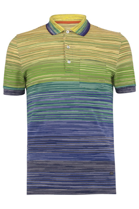Missoni Men's Cotton Ombré Striped Polo Shirt Green FRONT