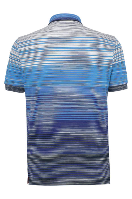 Missoni Men's Cotton Ombré Striped Polo Shirt Blue BACK