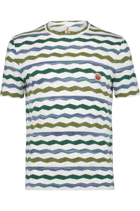 Missoni Men's Cotton Chevron Knitted Top Green FRONT