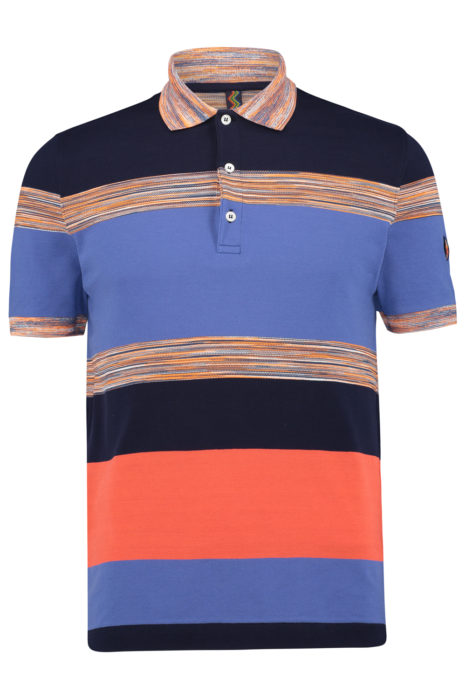 Missoni Men's Cotton Colour-Block Knitted Polo Shirt Blue FRONT
