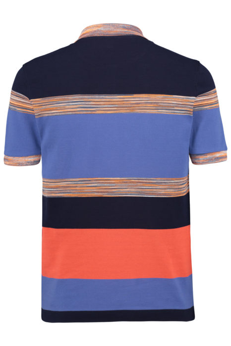 Missoni Men's Cotton Colour-Block Knitted Polo Shirt Blue BACK