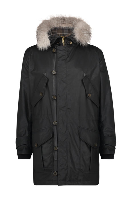 Matchless G3 Men's Waxed Cotton Parka Black FRONT