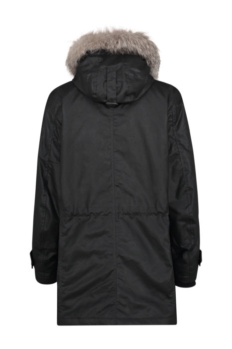 Matchless G3 Men's Waxed Cotton Parka Black BACK