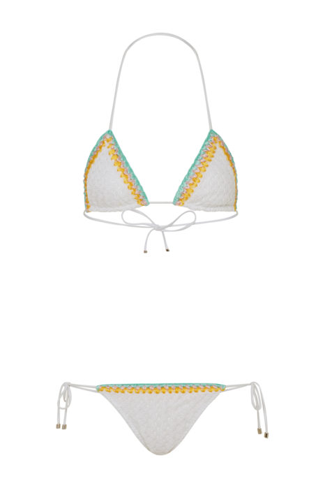 Missoni Women's Lightweight Crochet Triangle Bikini White FRONT