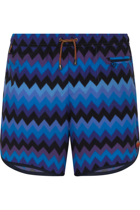 Missoni Men's Large Zig Zag Swim Shorts Blue FRONT