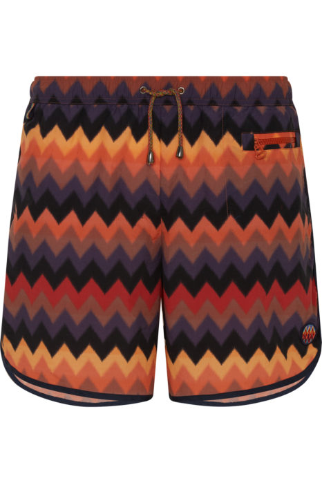 Missoni Men's Large Zig Zag Swim Shorts Orange FRONT