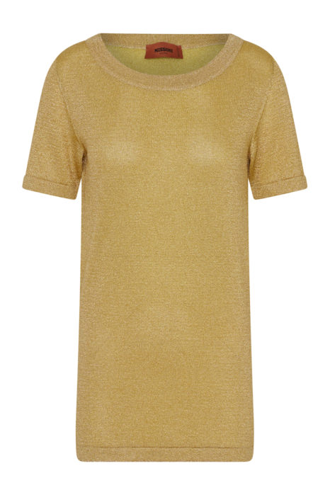 Missoni Women's Metallic Crochet-knit Top Gold FRONT