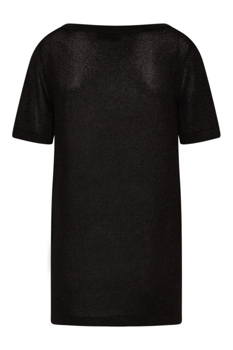 Missoni Women's Metallic Crochet-knit Top Black BACK