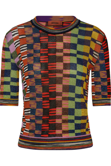Missoni Women's Metallic Checked Top Multicoloured FRONT