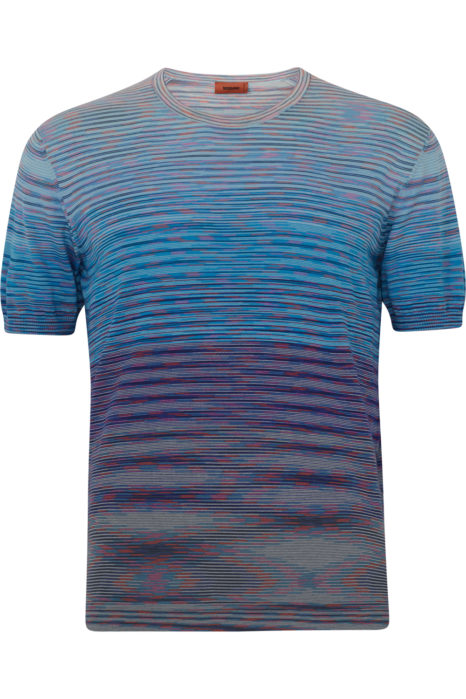 Missoni Men's Cotton Knitted Stripe T-Shirt Blue FRONT
