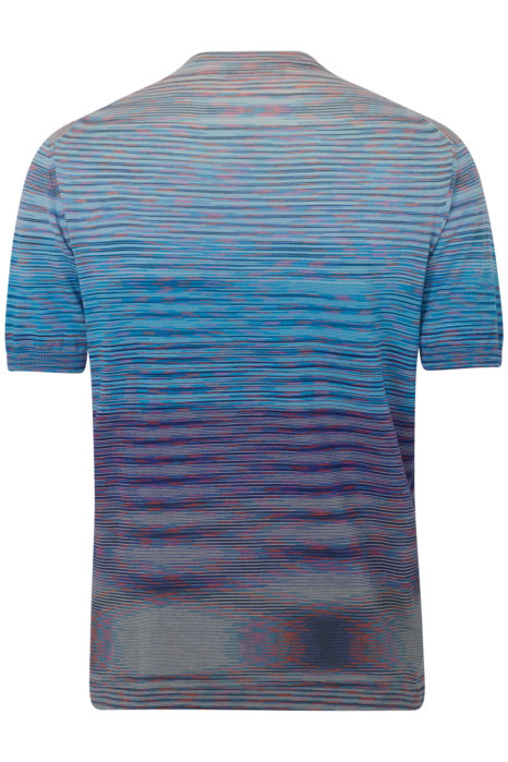 Missoni Men's Cotton Knitted Stripe T-Shirt Blue BACK