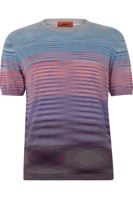 Missoni Men's Knitted Stripe T-Shirt Pink FRONT