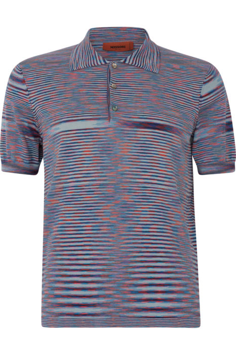 Missoni Men's Knitted Stripe Polo Shirt Blue FRONT