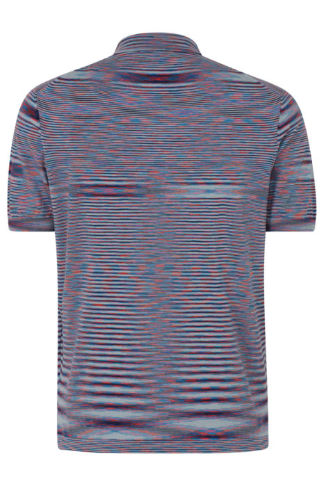Missoni Men's Knitted Stripe Polo Shirt Blue BACK