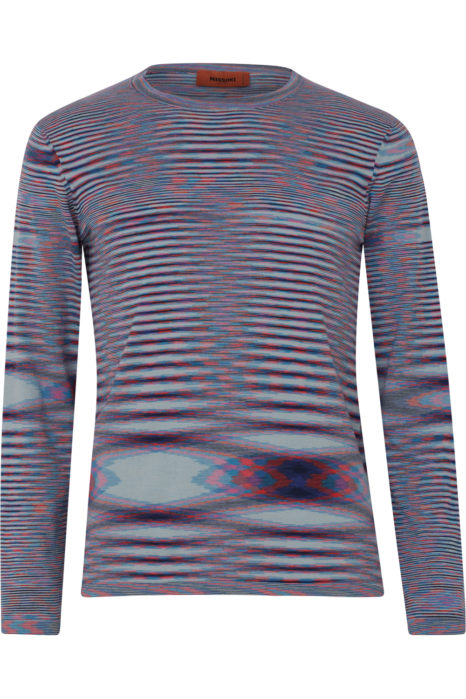 Missoni Men's Cotton Knitted Stripe Top Blue FRONT