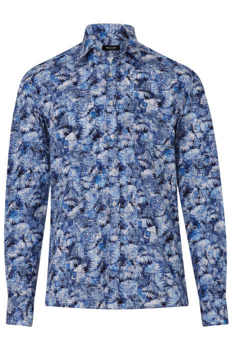 Men's Palm Tree Cotton Shirt Blue