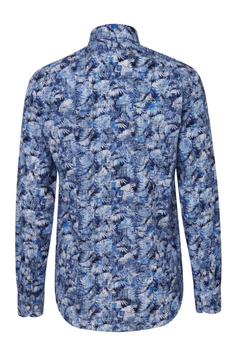 Men's Palm Tree Cotton Shirt Blue BACK