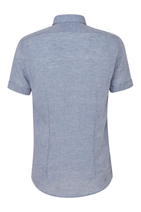 Sand Men's Marled Linen Short-Sleeve Shirt Blue BACK