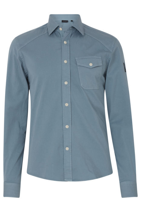 Belstaff Steadway Men's Shirt Light Chambray Blue FRONT