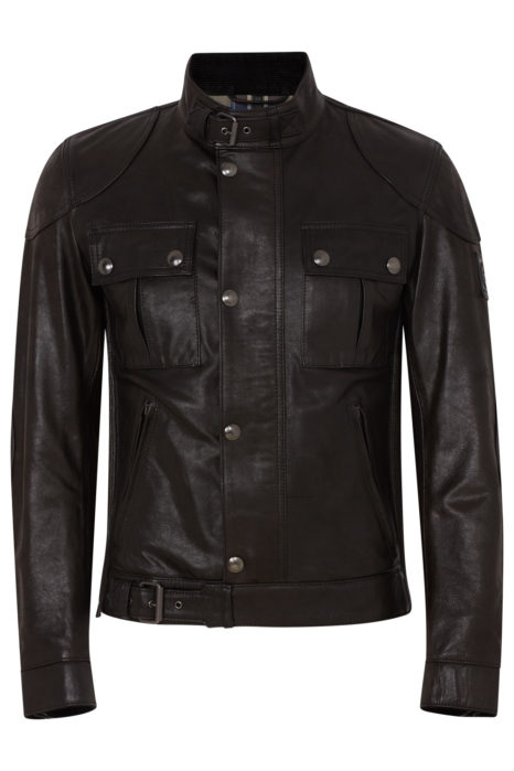 Belstaff Gangster Men's Hand Waxed Leather Jacket Black FRONT