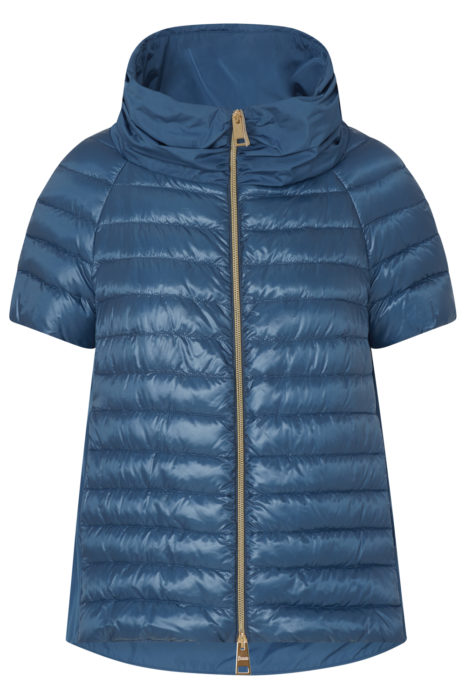 Herno Women's Cropped Quilted Down Jacket Blue FRONT