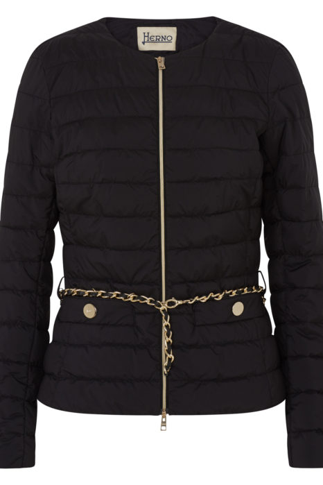 Herno Women's Quilted Down Chain Jacket Blue FRONT