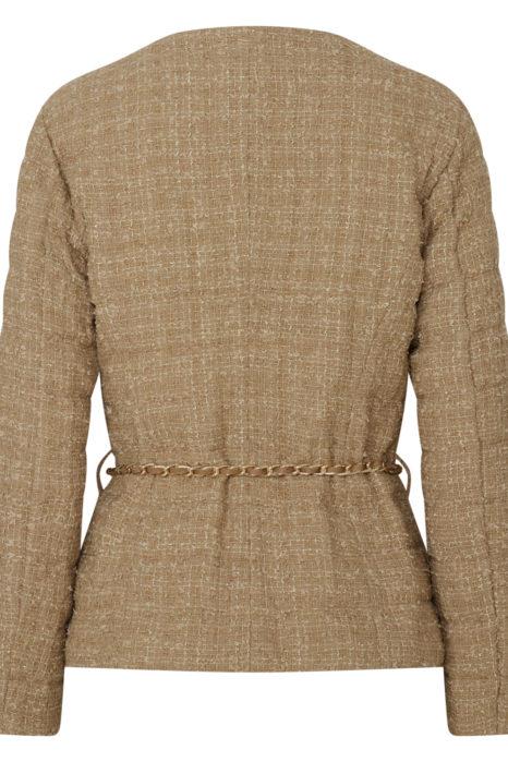 Herno Women's Chanel Padded Chain Jacket Beige BACK