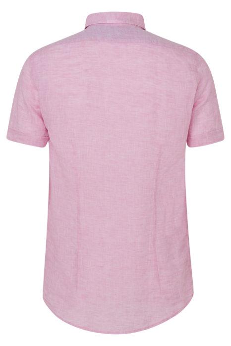 Sand Men's Marled Linen Short-Sleeve Shirt Pink BACK