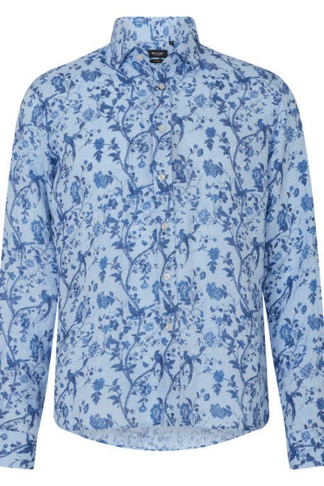 Sand Men's Floral Linen Shirt Blue FRONT