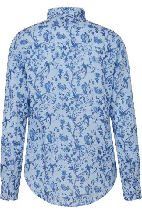 Sand Men's Floral Linen Shirt Blue BACK