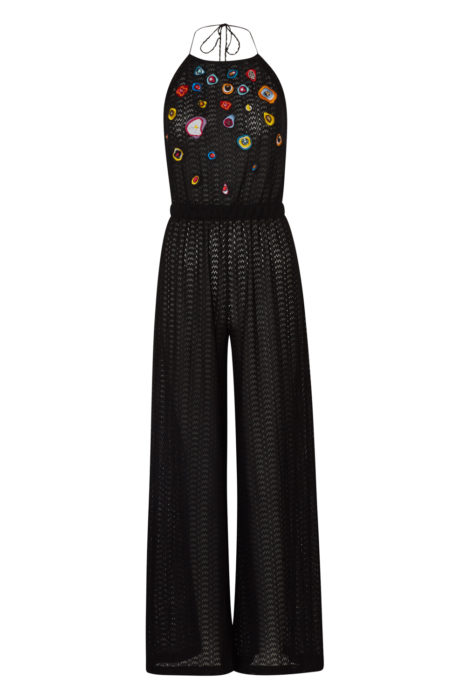 Women's Zig Zag Knit Jumpsuit Black FRONT
